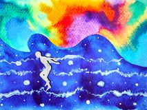 Human and spirit powerful energy connect to the universe power. Abstract art watercolor painting illustration design hand drawn Royalty Free Stock Photo