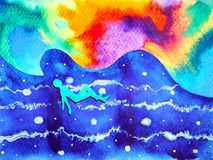 Human and spirit powerful energy connect to the universe power. Abstract art watercolor painting illustration design hand drawn Stock Photos
