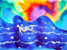 Human and spirit powerful energy connect to the universe power. Abstract art watercolor painting illustration design hand drawn stock illustration