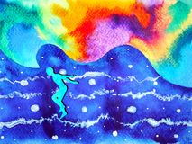Human and spirit powerful energy connect to the universe power. Abstract art watercolor painting illustration design hand drawn Stock Image