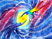 Human and spiritual powerful energy connect to another world universe. Abstract illustration art watercolor painting design hand drawn stock illustration
