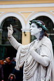 Human statue. ATHENS, GREECE - FEBRUARY 14: One of the many men posing as a human statue in Monastiraki square on February 14, 2010 in Athens, Greece stock photos