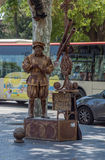 Human Statue of Galileo. On the Rambles, Barcelona Spain stock photo