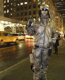 Human Statue: Man Painted Silver NYC stock image