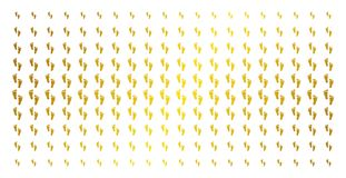 Human Steps Gold Halftone Effect. Human steps icon gold colored halftone pattern. Vector human steps items are organized into halftone grid with inclined gold Stock Photography