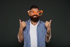 Human strengths and virtues. Positive mood. Positive psychology. Overcome life troubles with smile. Happiness and. Positive. Stay positive. Man brutal bearded royalty free stock photos