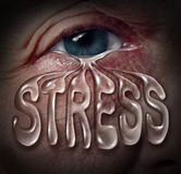 Human Stress. Concept as an eye crying a tear drop that is shaped with letters as a metaphor for mental health problems related to panic loneliness and Royalty Free Stock Photo