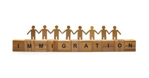 Human symbol with immigration word. On white stock images