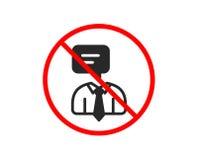 Human talking icon. Conversation sign. Vector. No or Stop. Human talking icon. Conversation sign. Communication speech bubble symbol. Prohibited ban stop symbol stock illustration