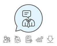 Human talking line icon. Conversation sign. Communication speech bubble symbol. Report, Sale Coupons and Chart line signs. Download, Group icons. Editable royalty free illustration
