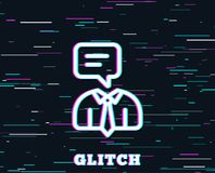 Human talking line icon. Conversation sign. Glitch effect. Human talking line icon. Conversation sign. Communication speech bubble symbol. Background with royalty free illustration