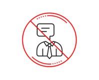 Human talking line icon. Conversation sign. Vector. No or stop sign. Human talking line icon. Conversation sign. Communication speech bubble symbol. Caution vector illustration