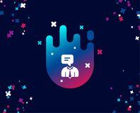 Human talking simple icon. Conversation sign. Communication speech bubble symbol. Cool banner with icon. Abstract shape with gradient. Vector stock illustration
