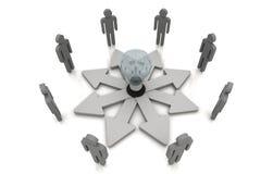 Human teamwork direction concept light bulb link Grey. 3D Human teamwork direction concept light bulb link Grey Royalty Free Stock Photos