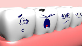 Human teeth. Crying damaged tooth and healthy teeth near it vector illustration