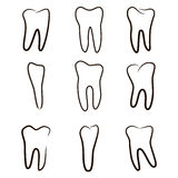 Human teeth icons set isolated on white background for dental medicine clinic. Linear dentist logo. Stock Images