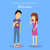 Human Temperament Concept Vector in Flat Design. Melancholic type of human temperament concept. Sad young woman and man characters depressing and crying flat Royalty Free Stock Images