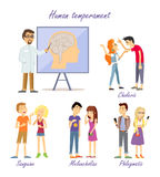 Human Temperament Personality Types. Scientist. Human temperament personality types. Scientific approach. Sanguine optimistic social, choleric short-tempered or Royalty Free Stock Photography