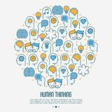 Human thinking concept in circle royalty free illustration
