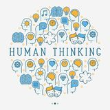 Human thinking concept in circle stock illustration