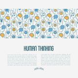 Human thinking concept with thin line icons vector illustration