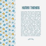 Human thinking concept with thin line icon vector illustration