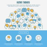 Human thinking concept with thin line icons royalty free illustration