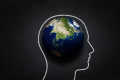Human thinking about the earth Royalty Free Stock Image