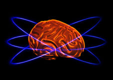 Human thinking (without equations). There is a glowing human brain in the picture. Three violet stripes are around the brain. This picture can symbolize the stock photography