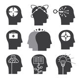 Human thinking icons, set of mental abilities. Illustration Stock Images