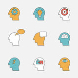 Human thinking process color line icons Royalty Free Stock Photo