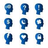 Human thoughts and mood icons. Vector illustration as profile silhouette of human head, with different symbols related to stress, headache, support, answers Royalty Free Stock Photos