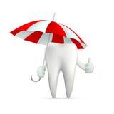 Human tooth holding an umbrella Stock Images
