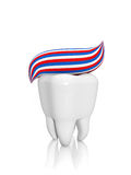 Human tooth and toothpaste Royalty Free Stock Photography