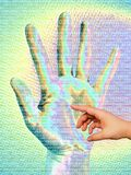 Human touch. Illustration: human world meets computer world vector illustration
