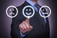 Human Touch Smiling Face on Visual Screen Royalty Free Stock Photos