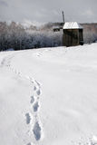 Human traces in the snow leading to the old mill. Stock Photo