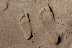 Human tracks on sand Royalty Free Stock Image
