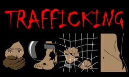 Human Trafficking Awareness Day, four type illustration of human trafficking in . Violence of humanity, and social comunity, crime watch in dark place Royalty Free Stock Photo