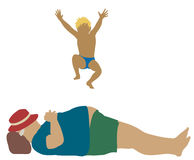 Human trampoline. Editable vector cartoon illustration of a young boy jumping onto a sleeping fat mans belly Royalty Free Stock Photo