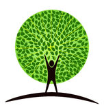 Human tree. Stylized tree with person in its basis. Illustration symbolizes the unity of Human and Nature Stock Image