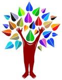 Human tree. Isolated illustrated line art cartoon image Royalty Free Stock Images