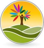 Human tree logo. Illustration art of a human tree logo with  background Royalty Free Stock Photo