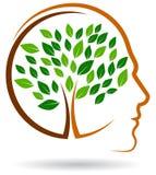 Brain tree logo. Vector illustration of human tree logo like brain on white background stock illustration
