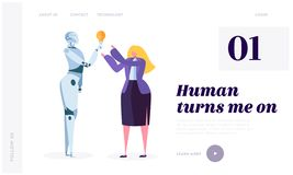 Human Turn on Robot Landing Page. Development Robotic is Future of World. Artificial Intelligence, Machine Learning royalty free illustration