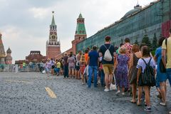 Human turn to Lenin. Human turn to  Lenin Mausoleum on Red Square, Moscow, Russia Royalty Free Stock Photography