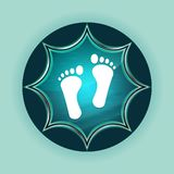 Human two footprints icon magical glassy sunburst blue button sky blue background. Human two footprints icon isolated on magical glassy sunburst blue button sky royalty free stock photos