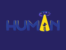Human UFO logo. Human logo. Confused man in ray of light of Ufo Stock Photography