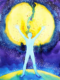 Human and universe power, watercolor painting, 7 of chakra yoga reiki Royalty Free Stock Images