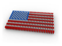 Human US flag. 3d, colored people shaping the US flag royalty free illustration